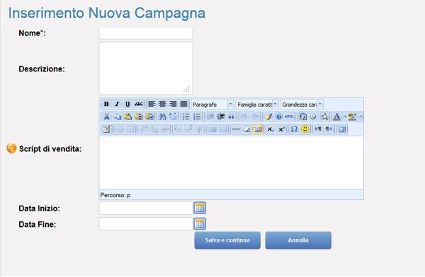 EasyCall Cloud crea la tua campagna